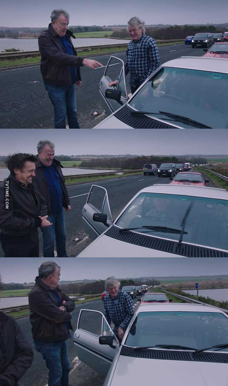 That van creating big traffic jam! Was he part of the Grand Tour filming crew or just someone being an idiot and just watching Jeremy and co??