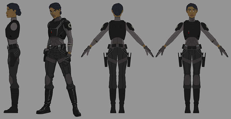 """Behind the scenes info on Agent Tierny, from Amy Beth Christenson who works on the show. """"She's a security agent like Kallus, and they get to design their own gear. They don't really have the standard uniform, so her entire under suit is very police/SWAT team inspired."""""""