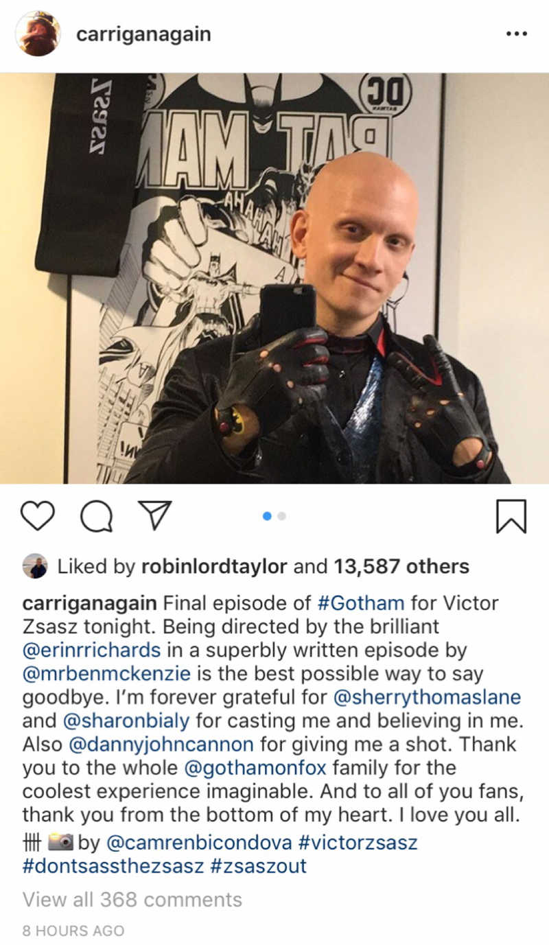 Last episode for this incredible human 😥 Victor Zsasz stole every single scene that he was in and I loved every second of him. Thank you, Anthony Carrigan, for bringing this character to life so brilliantly 👏  Farewell to one of my favorite TV characters ever ✌️🖤