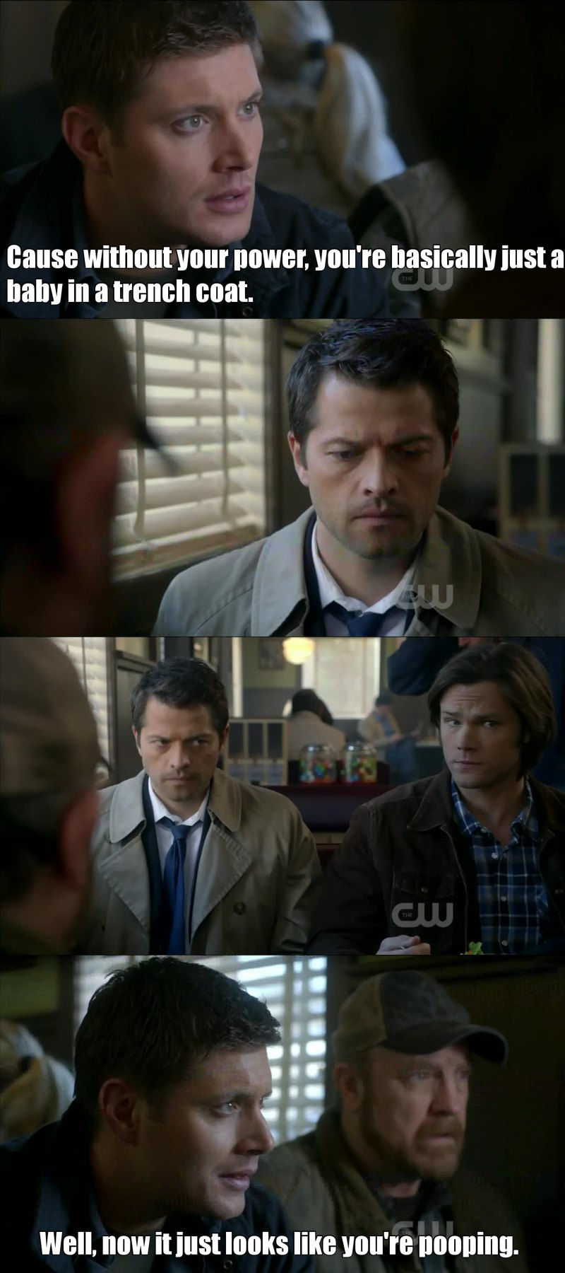"Actually, when Cas looked out of the window Misha didn't know his line. Then Jared made that joke (""You hurt his feelings"") and the producers decided to keep this scene."