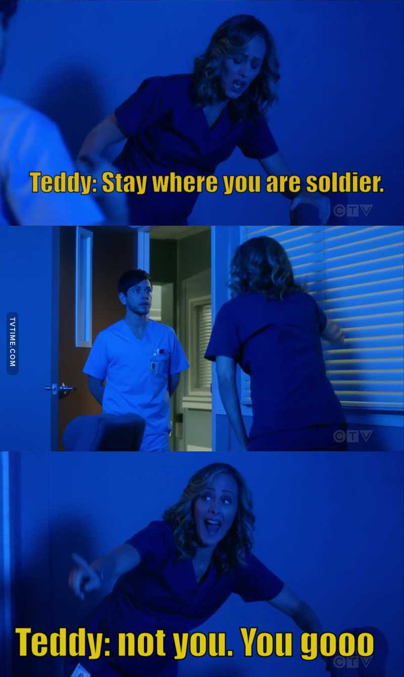 "Teddy talking to her baby as a soldier was the best. 😂😂😂😂  Teddy: ""move off whatever organ you're on soldier.""               ""Ok. At ease.""    🤣🤣🤣🤣"