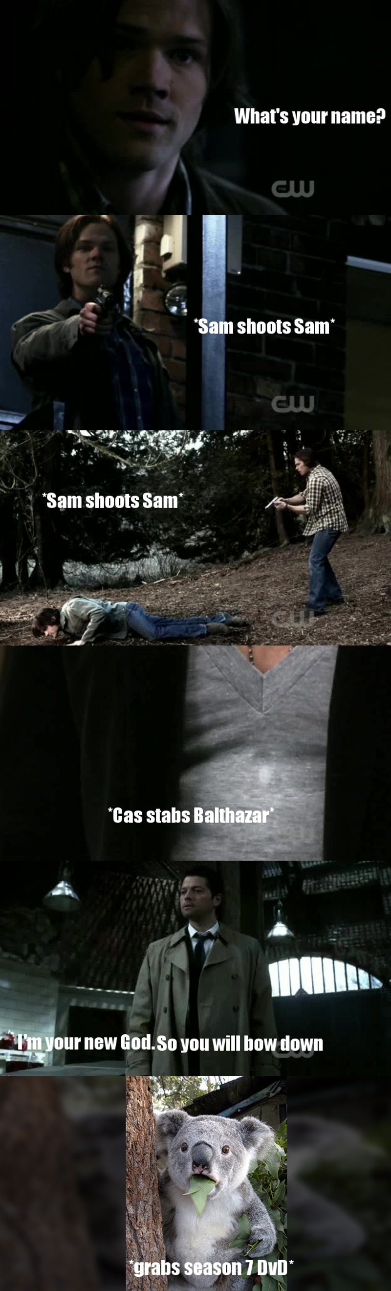 Cas what the fuck happened to you?! I remember the times when you were only a baby in a trench coat :(