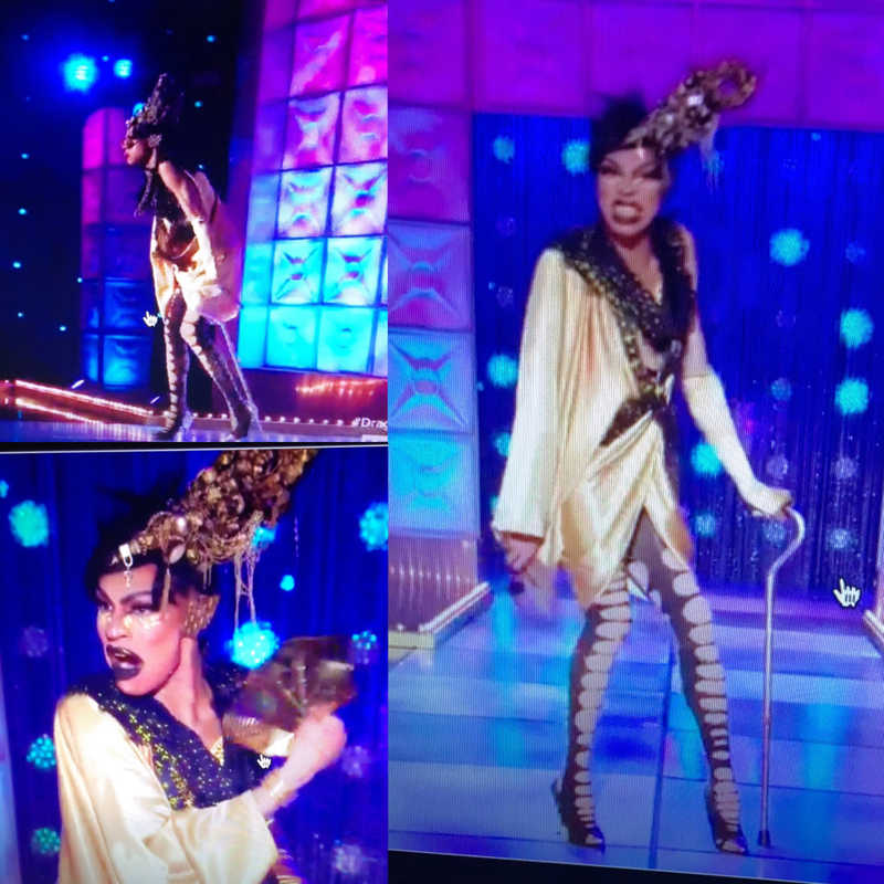 I'm so sorry for her ankle, but I loved how she incorporated the cane into her look! Very clever!