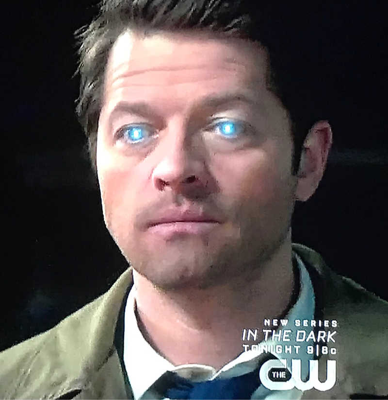 😎💥👊💥😎 Very cool. Castiel trying to contact God.  Will we see Chuck soon?  This look on Castiel will never, ever get old.