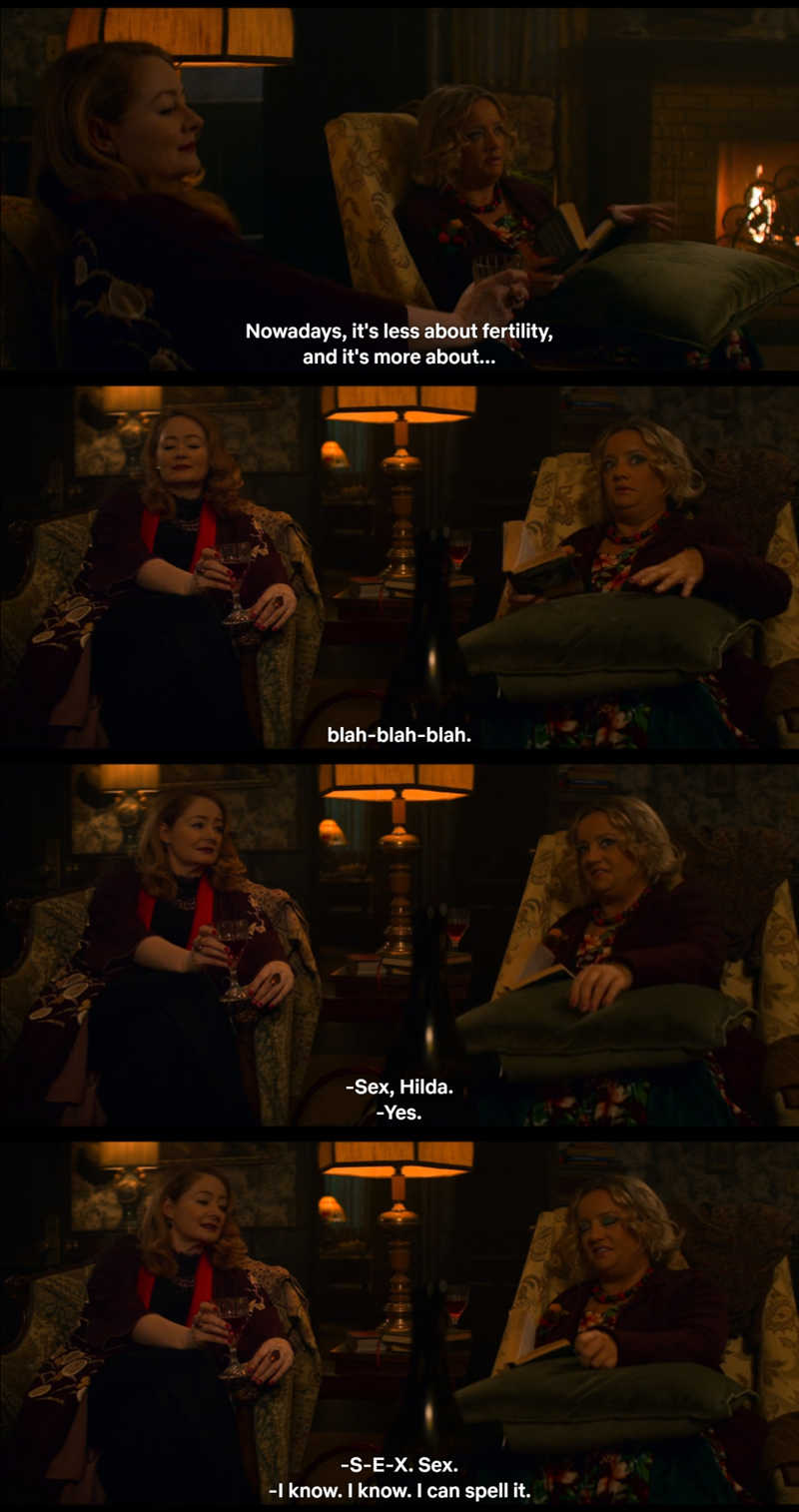 Aunt Hilda, all shy.