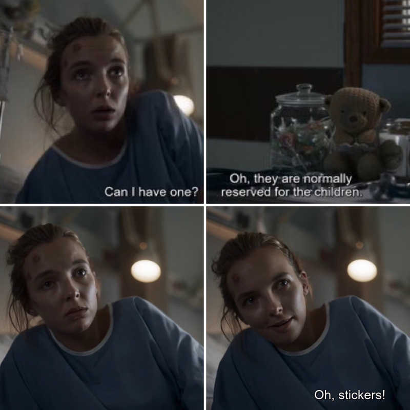 So Villanelle has the maturity of an eight year old. I'd say that checks about right.