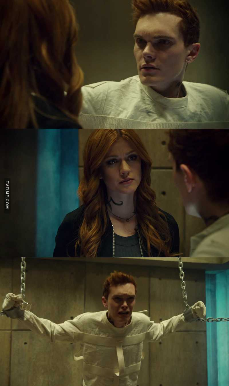 I know it might be super naive but I really wish Clary would just give Johnathan a chance I mean God damnit everyone else got multiple chances and he is basically still a kid. I think Have is wrong she can save him. Great acting in this scene