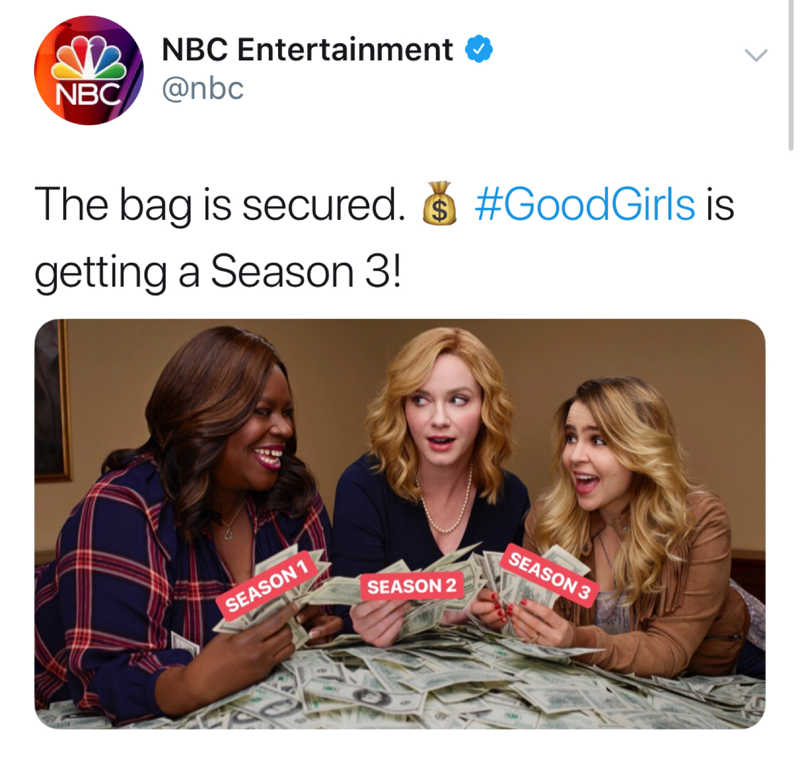 WE DID IT!! GOOD GIRLS HAS BEEN RENEWED FOR ANOTHER SEASON