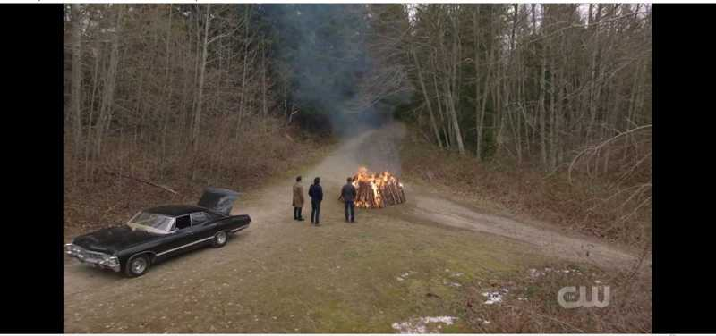 What if someone came down one of those roads and saw three guys watching a burning body on an altar-like burning bed-made-of-perfectly-cut-logs?