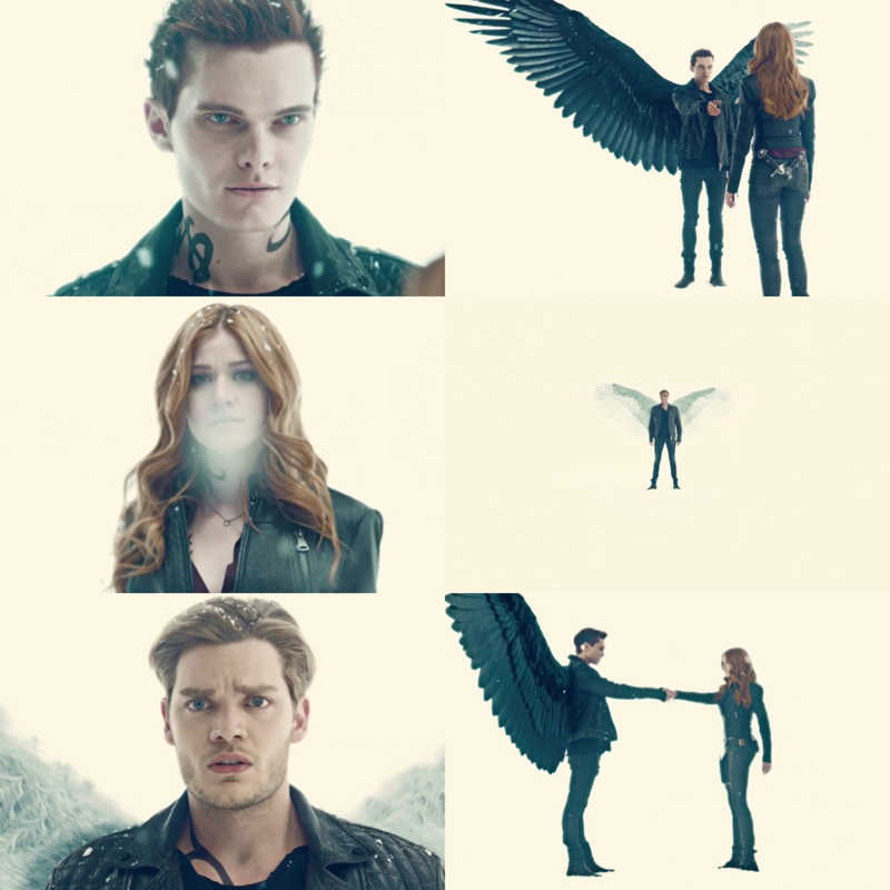 Look at this amazing scene. Kat, Dom, and Luke are gorgeous! We have a demon, an angel, and Clary is both but is leaning more towards the demon side.! Jonathan's and Jace's wings are just ........ B E A U T I F U L!!!