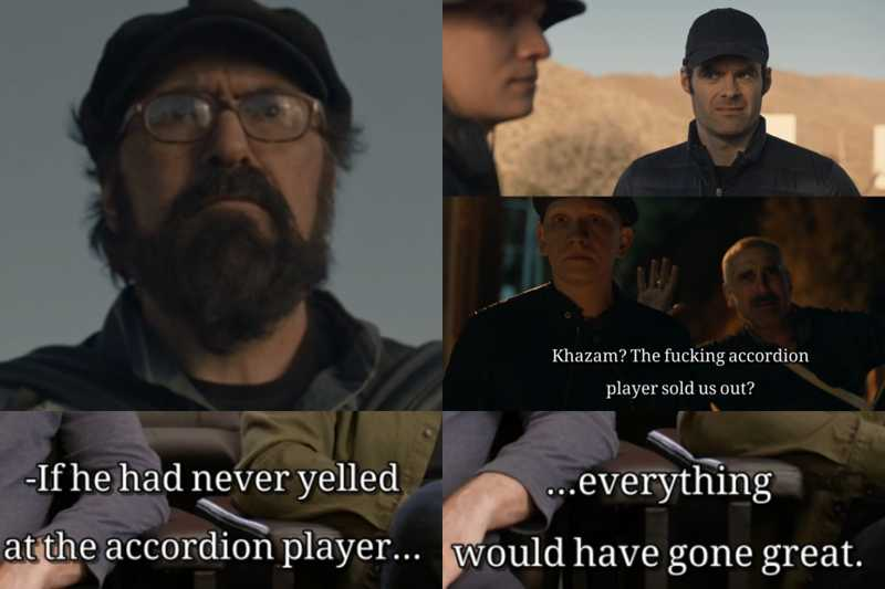 Hank his threats to Barry and his plan to take over is gone. Thanks to accordion player [:||||||||||||:] 😂