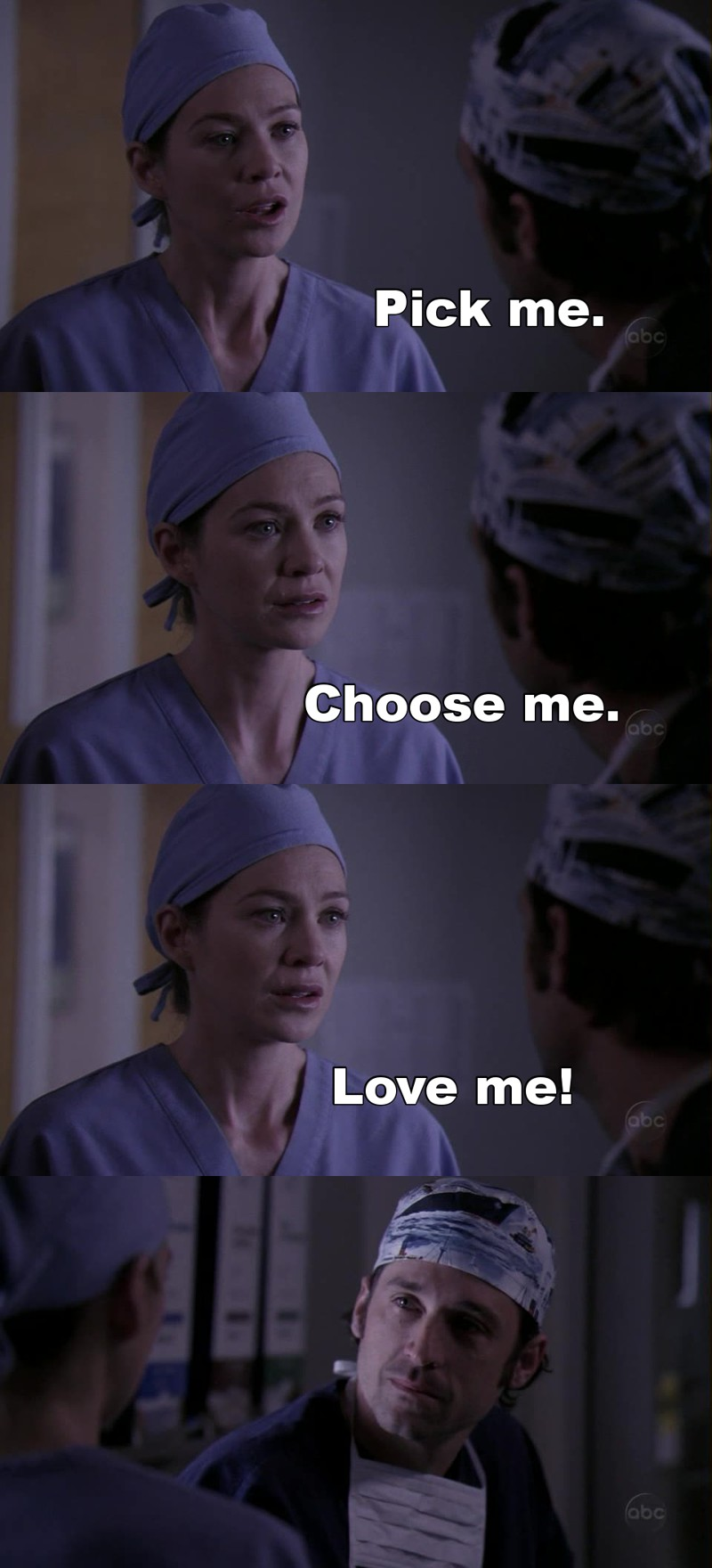 One of Grey's Anatomy's best scene!  I'm always crying when I see it... Ç_Ç DEREK PLEASE CHOOSE MEREDITH!