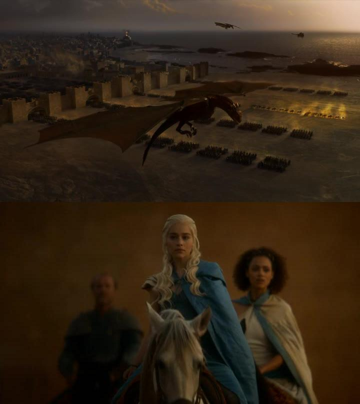 Daenerys is becoming so powerful!! Dragons, Unsullied, Dothrakis, ... wouldn't like to be on her path :D