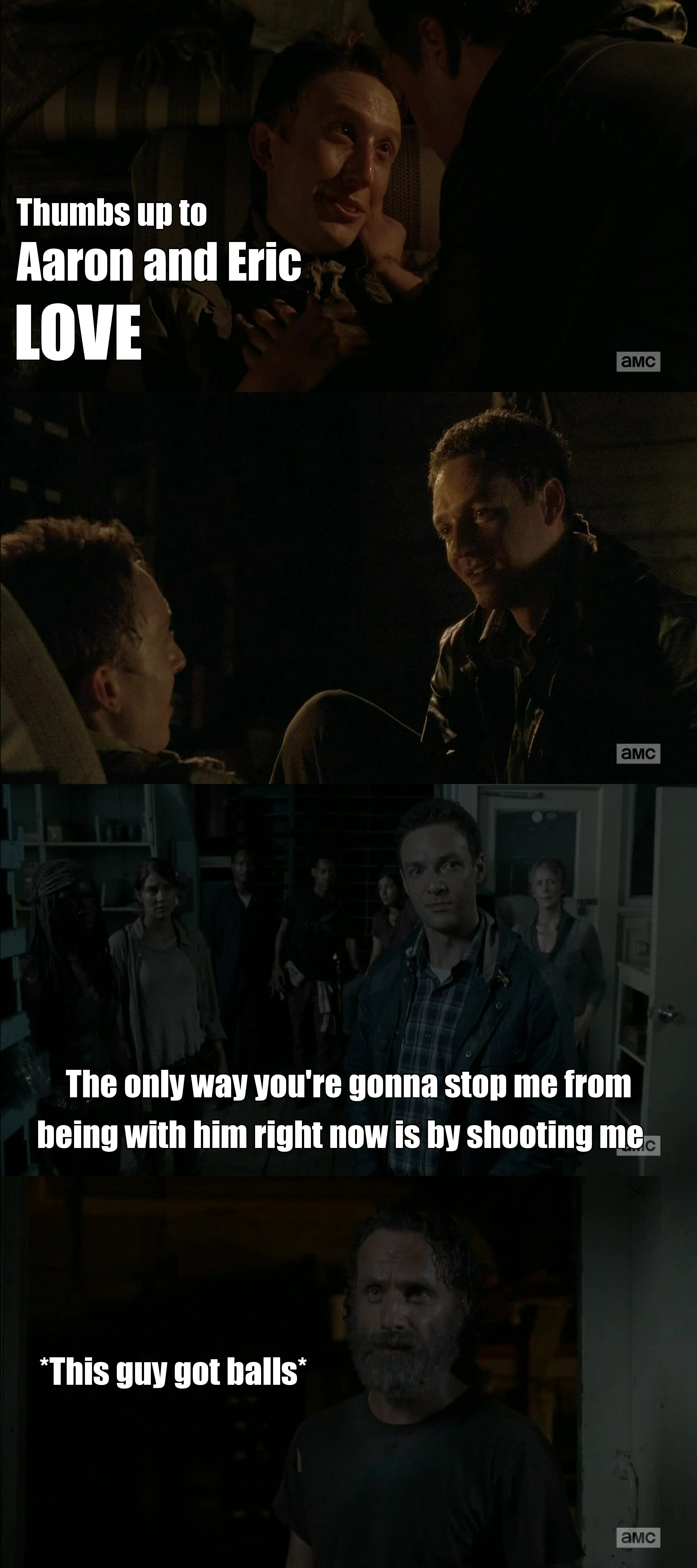 This episode was good and bold. I know homosexuality is present on a lot of TV shows from a long time now and despite me not being gay it's always nice to see a show like Walking Dead dealing with it too and, consequentially, helping people being at least more tolerant with those who love who they wanna love, despite the gender.   Love has no gender, so a big thumbs up to Walking Dead this season to showcase it in such a nice way from this two characters from the comics. Aaron is such a interesting character, even if we take only this episode alone. A true and honest guy on this apocalyptical world, something very rare. And the way he faced Rick when he couldn't be with Eric, that was nice as a development of this new and nice character.   Wish Aaron was on the character pool so I would vote for him this week. Finally a very good episode.