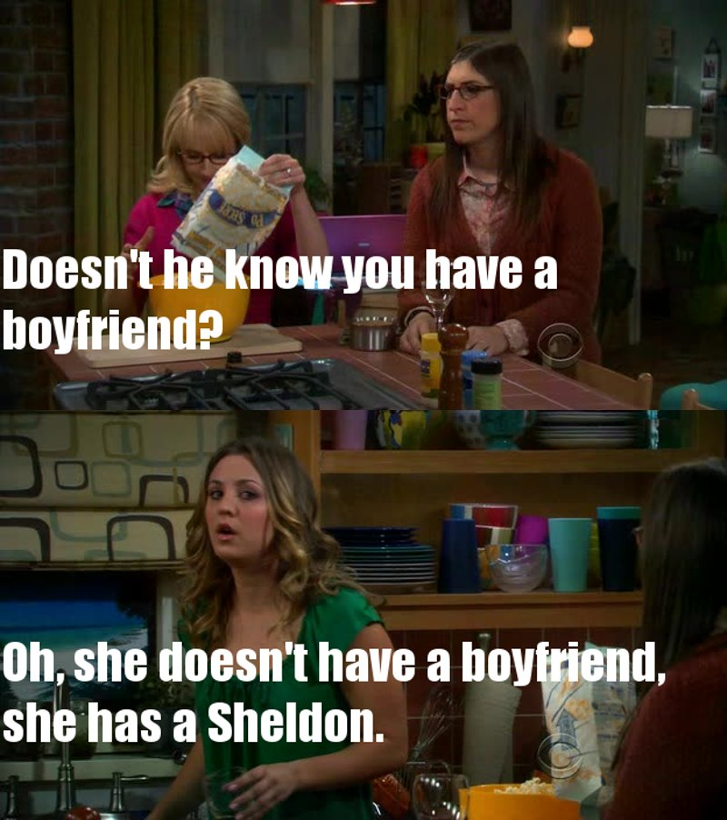 Now, she has a Sheldon and a boyfriend. 😍😍😍