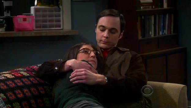 Amy and Sheldon cuddle ? ?