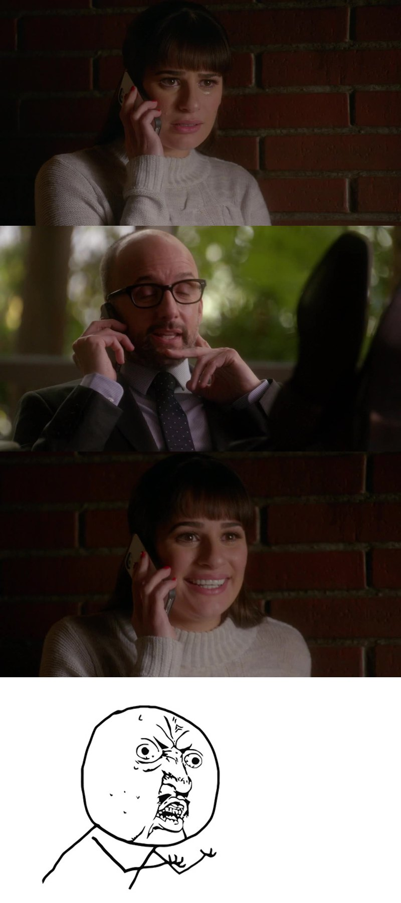 ARE YOU STUPID OR WHAT RACHEL? she was crying because she could miss her dream and now makes the same mistake!