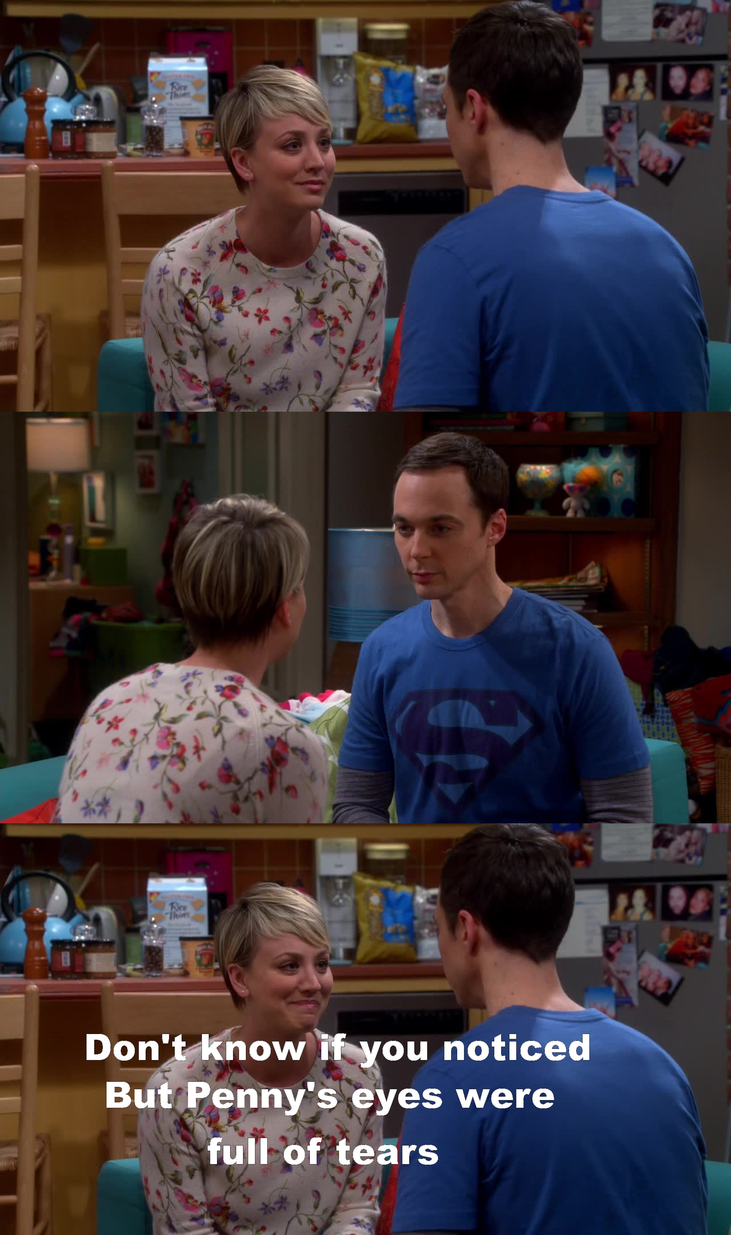 This episode was so lovely. That talk between Penny and Sheldon was really moving, i saw her eyes getting full of joy tears and that somehow filled my heart.