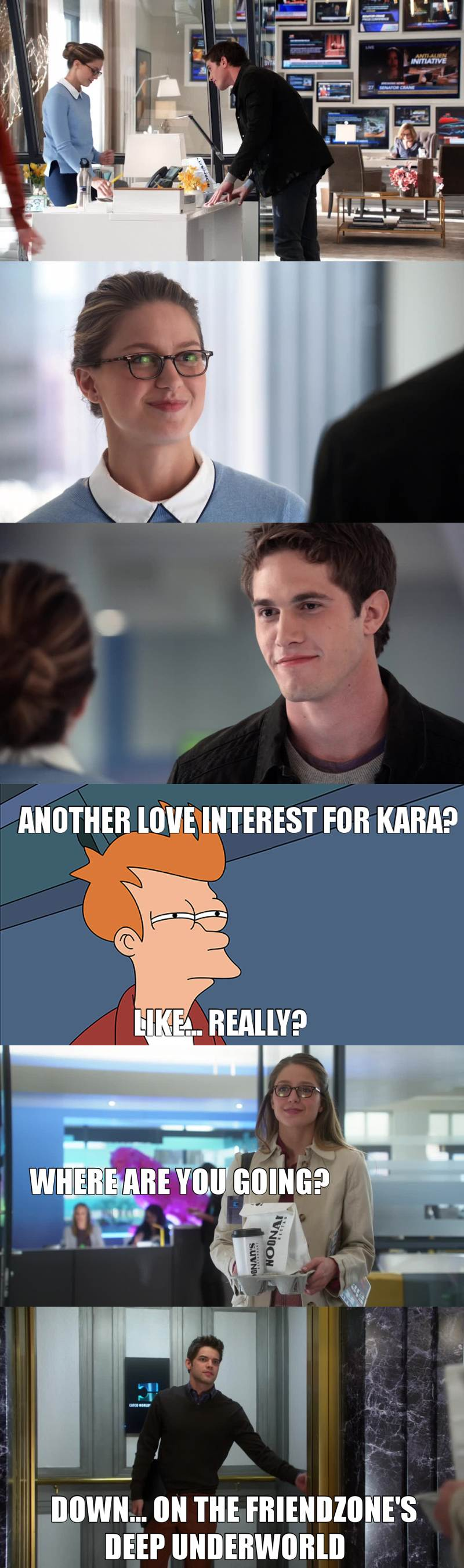 Isn't James and Winn enough relationship issues for her? Does the show really needs another guy as love interest for Kara?   One thing is for sure, little hobbit will be pissed!  James: check! Adam: check! Little Hobbit: meh...   The friend zone just got deeper!
