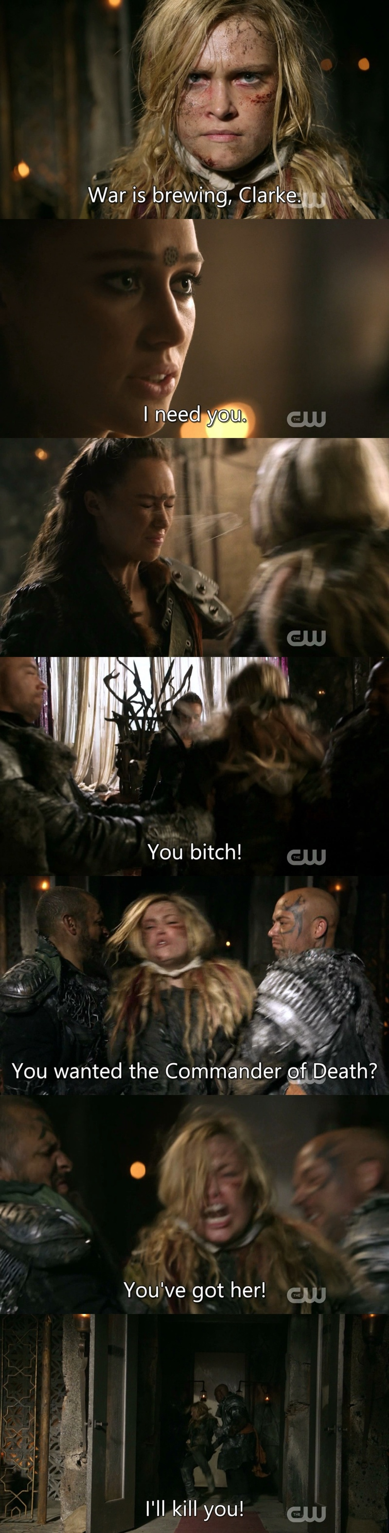 Best moment of the episode (well second best, after #Bellarke brief reunion). I hope Clarke never forgive Lexa.