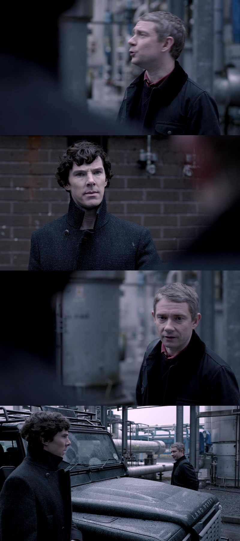 """Please, can we not do this, this time?"" ""Do what?"" ""You being all misterious with your... cheekbones, and turning your coat collar up so you look cool"" ""I don't do that""  ""Yeah, you do""  I love them"