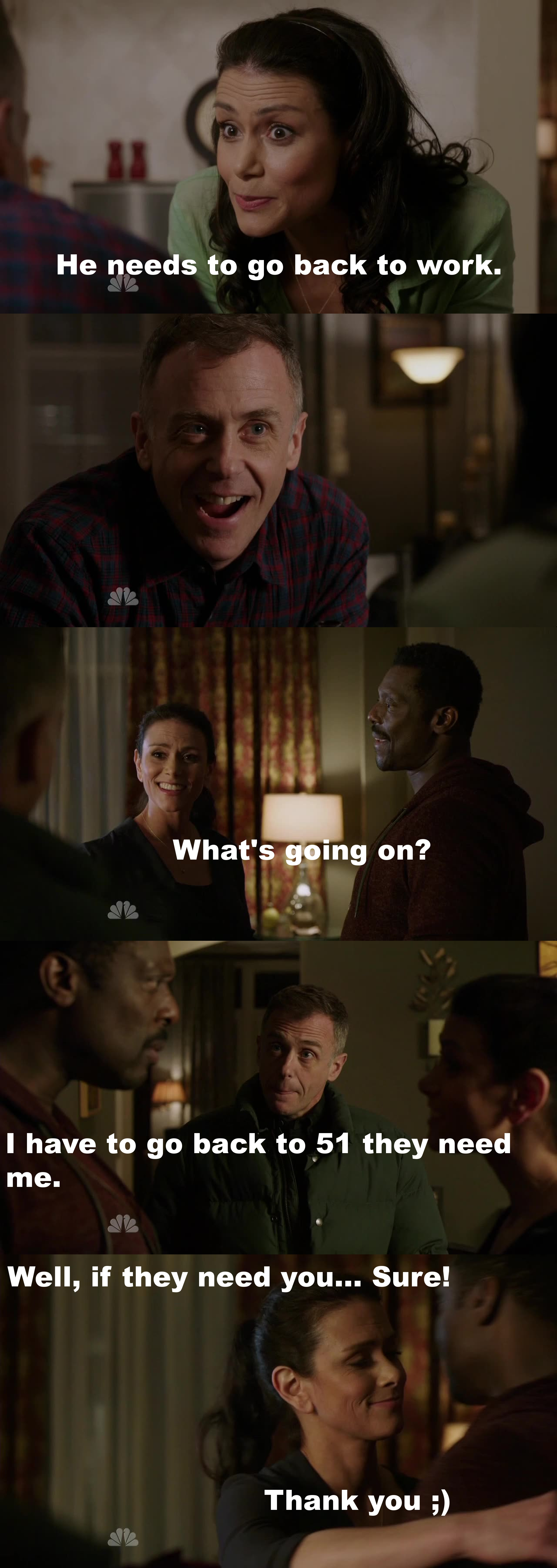 Donna cracked me up in that episode xD Of course Boden needs to go back to 51. He is doing an excellent job at 51 and also with his son. He needs both. Anyway, Boden and Donna are adorable. I love them together!!!