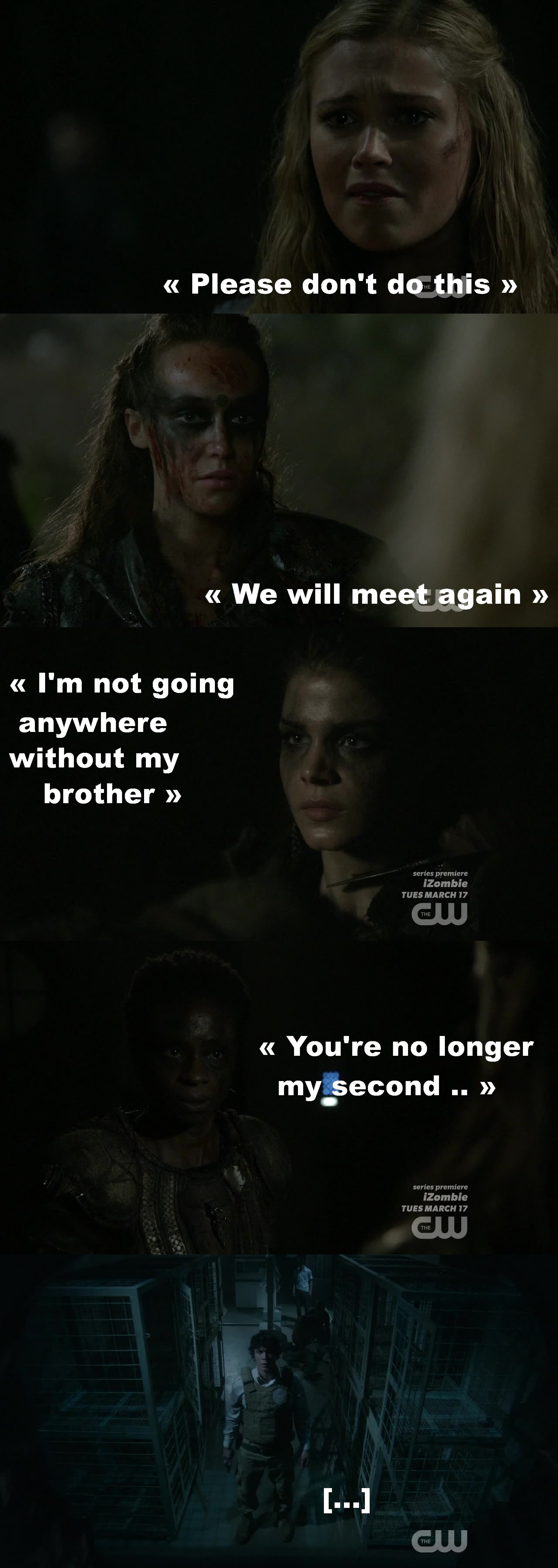 HOLY SHIT !!! I can't believe this ! It started all well, they were united and powerful together in this war, as one people « Blood must have blood » I had chills everywhere as they were getting ready to fight ! And the shared leadership between Lexa and Clarke had an amazing intensity and chemistry... I can't believe she just blew all this away !!!  So TRAGIC ! I can't get over it. Clarke left alone in front of this big door just broke my heart, same for Octavia and same for Bellamy   This show keeps blowing my mind week after week