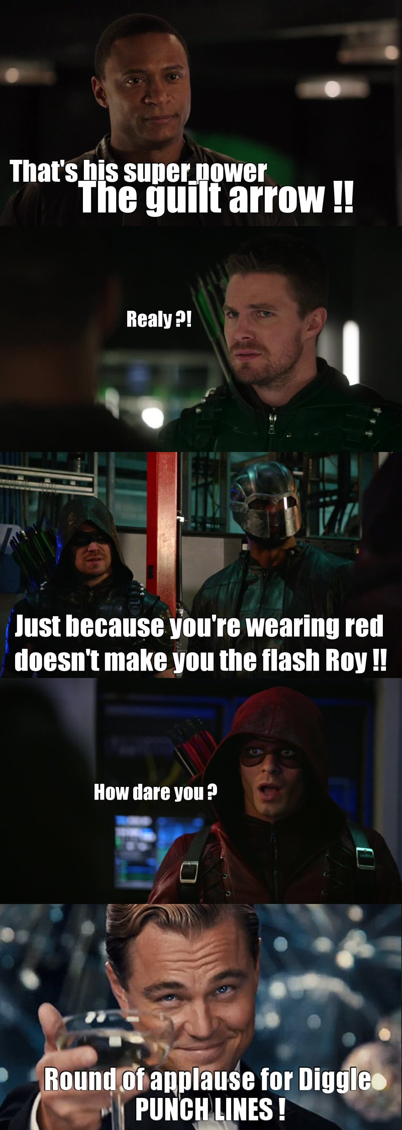 Diggles was full of joke ! 😂😂 I laugh a lot 👊💥😂  It was Great to see Roy again ! 😍 And we finaly know who is felicity's father ... But he doesn't seems to be one of the good guy ...