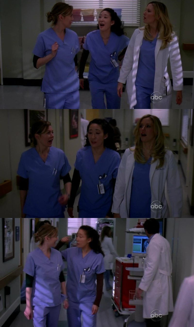 Christina: You know, you can't have feelings for Karev, he's like Meredith 3 years ago.  Meredith: I said that. Lexi: I don't have feelings for Alex.  Christina: Yes, you do. Your heart's, like, in your vagina. Meredith: I said that. Christina: Oh My God.  Lexi: You are both monsters.   //Friendship goals!