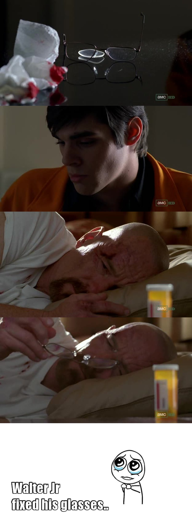 A lot of wow factors in this episode, but it's the first time I really have felt sad and heart broken on the behalf of the White's. Jesse has always been the one I've felt sorry for, but for Walter Jr to find his father beaten up and in a pill-alcohol haze on his 16th birthday.. Fuuuuuuu...... And the talk they had.. And we got to see that Walter Jr had gotten the glasses fixed, and the second talk, when he said it's the first time he felt his father was honest and real.. Wow, it all hit me right in the feels! Finally something quite genuine and extremely realistic in this show when it comes to emotions and relations! And so beautifully filmed, once again!
