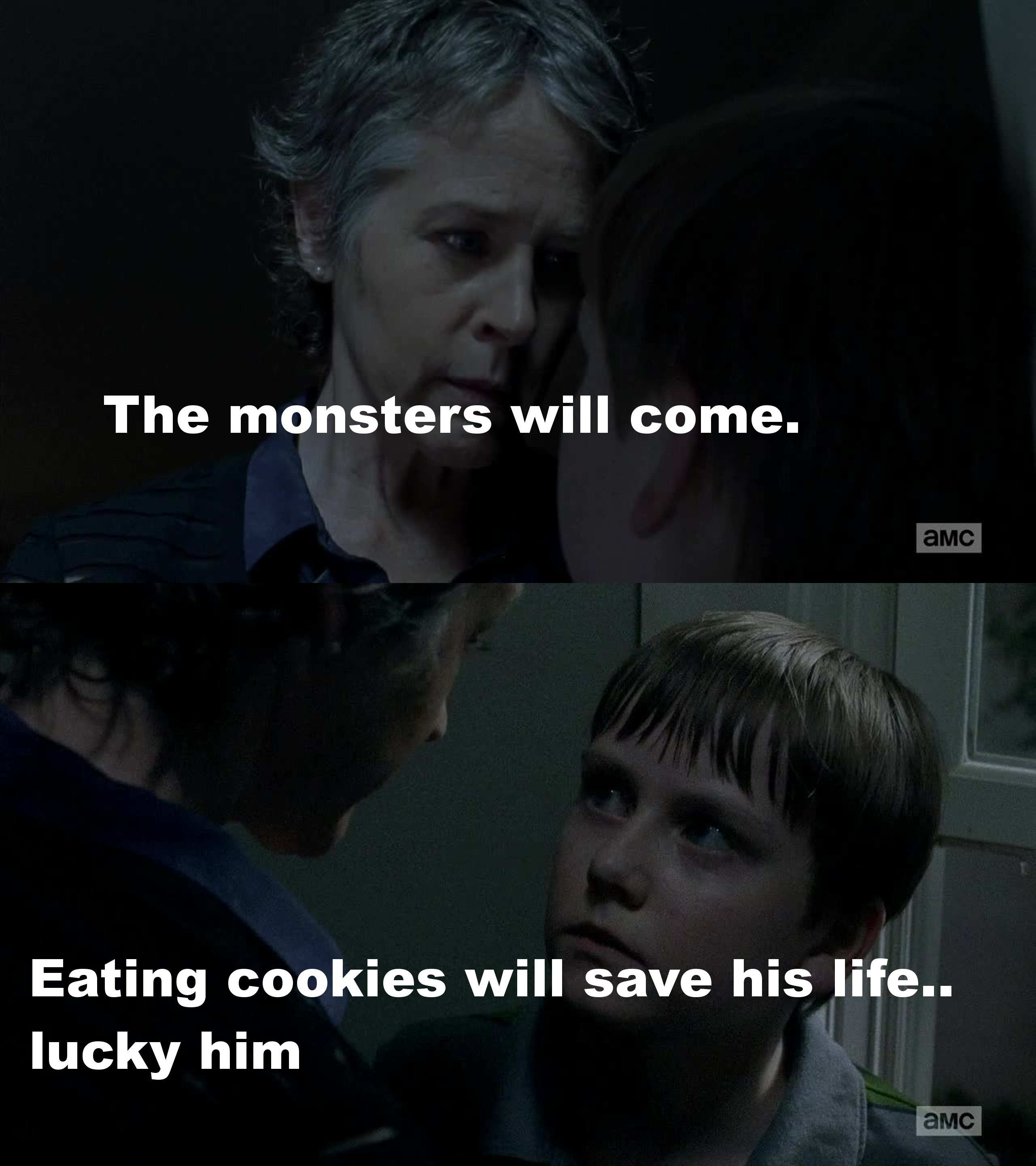 Carol is a badass. She is a great two-faced character and I just love how easily she can play a double game! She can act like a nice woman socializing with other women but she still is that strong woman we've known for a few seasons now.  Look at that scene! She was terrifying .... poor kid. If one day Carol offers you a cookie you better accept it and tell her it's good ... otherwise you'll end up tied up to a tree waiting for death to come