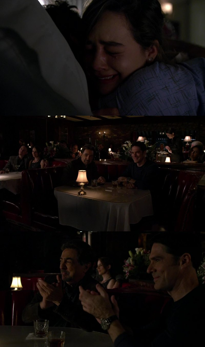 I love that hug! and it s so glad see aaron smile! I love The friendship between Rossi and Hotch! they are amazing