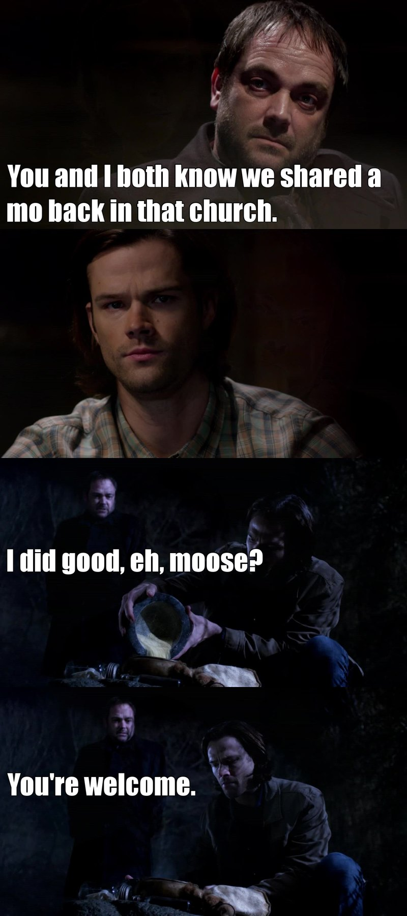 Crowley is so sweet with his Moose haha. I love how Dean has Cas and Sam has Crowley. You know Angel and Demon, Michael's meat suit and Lucifer's meat suit. Always has been like this with the brothers