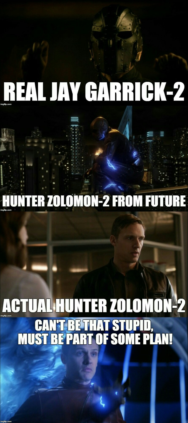 Here is my best theory :  *Our Jay is Zoom's past , here to get Velocity-9. *Zoom is from future,  and the reason he has power is Velocity-9. To get his speed, he's helping his young version.  *Real Jay lost the fight against Zoom and captured by him. And Zoom searches a way to get his speed. *Masked guy's cage was exactly the same cage Barry had unlike Jesse's.